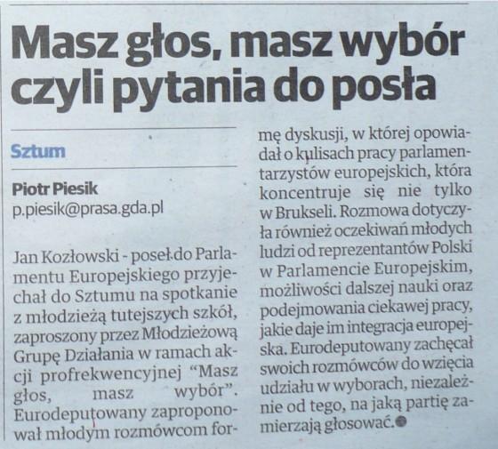 Informacja w prasie podsumowująca spotkanie - Powiśle. Sztum i Dzierzgoń (2.05.2014)