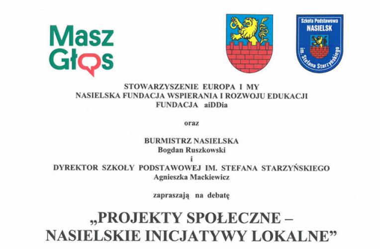"""Zaproszenie na debatę """"Projekty społeczne – Nasielskie inicjatywy lokalne"""""""