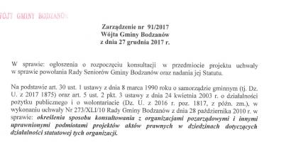 Konsultacje Społeczne dot. Powstania Rady Seniorów w Gminie Bodzanów