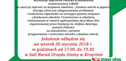 Już wkrótce bezpłatne szkolenie dla Sołtysów, Członków Rad Sołeckich i Radnych z terenu gminy Krzęcin