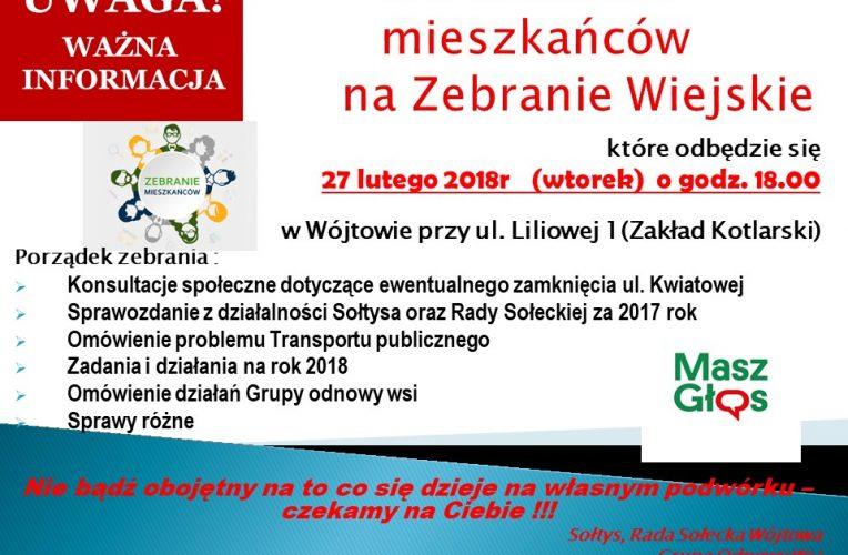 Zebranie wiejskie w Wójtowie Luty 2018