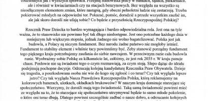 List do Posłów Rzeczypospolitej Polskiej w sprawie wyborów Rzecznika Praw Dziecka.