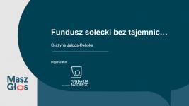 Fundusz sołecki bez tajemnic…